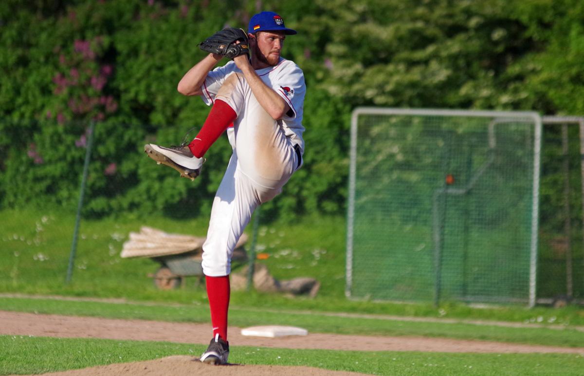 Jordan Edmonds ist einer der Pitcher beim Baseball-Bundesligisten Hamburg Stealers.
