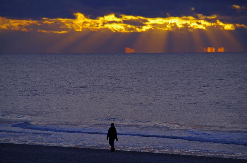 Sonnenuntergang über Westerland auf der Insel Sylt.